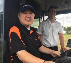 Bago Magic's Brendan Hall driving a bus